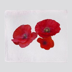 Three lovely red poppy flowers Throw Blanket