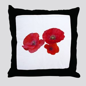Three lovely red poppy flowers Throw Pillow