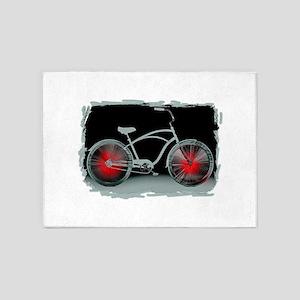 Gray Bike Red Wheels 5'x7'Area Rug
