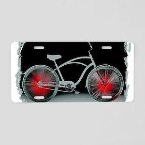 Gray Bike Red Wheels Aluminum License Plate