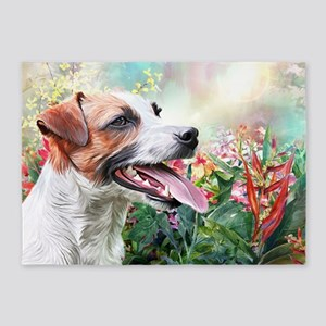 Jack Russell Terrier Painting 5'x7'Area Rug