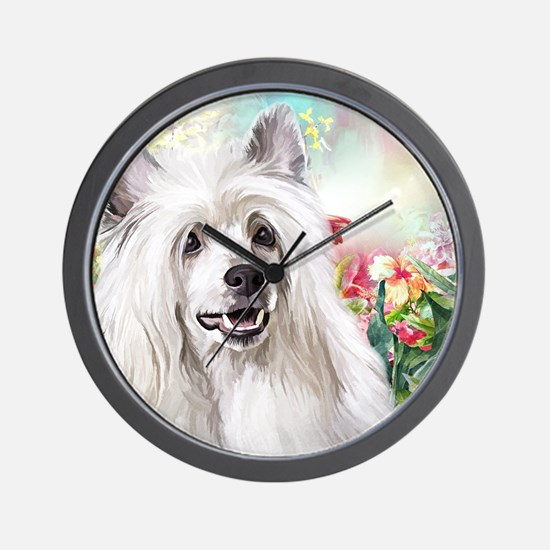 Chinese Crested Painting Wall Clock