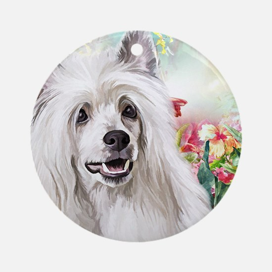 Chinese Crested Painting Round Ornament