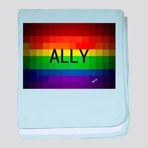 Ally gay rainbow art baby blanket