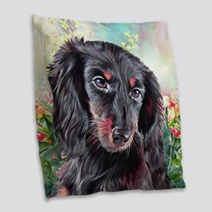 Dachshund Painting Burlap Throw Pillow