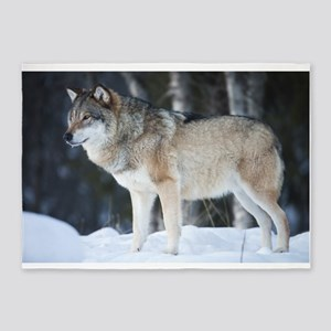 Wolf in Winter 5'x7'Area Rug