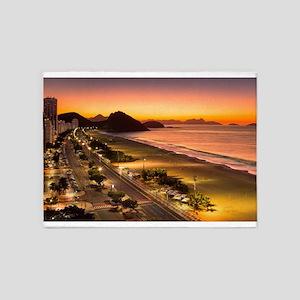 Copacabana Beach Rio de Janeiro Bra 5'x7'Area Rug