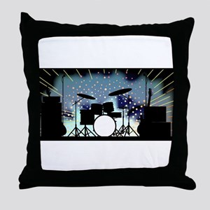 Bright Rock Band Stage Throw Pillow