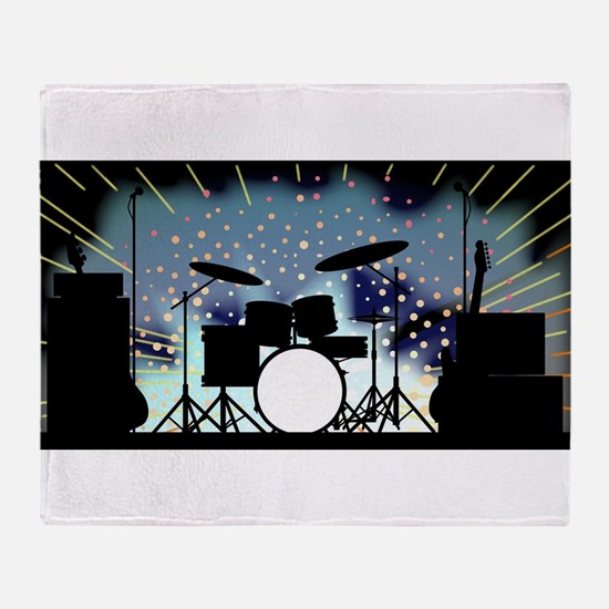 Bright Rock Band Stage Throw Blanket