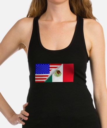 United States and Mexico Flags Racerback Tank Top