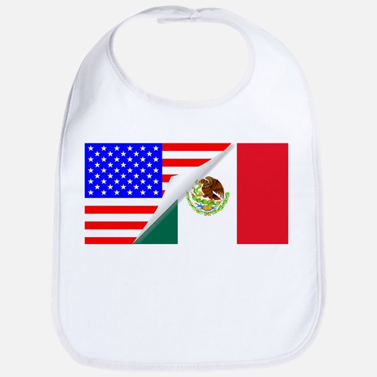 United States and Mexico Flags Combined Bib