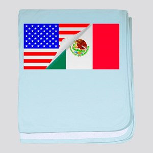 United States and Mexico Flags Combin baby blanket