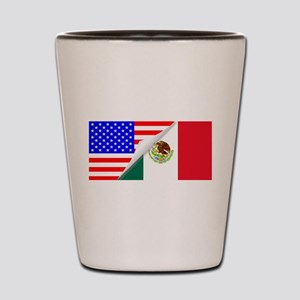 United States and Mexico Flags Combined Shot Glass