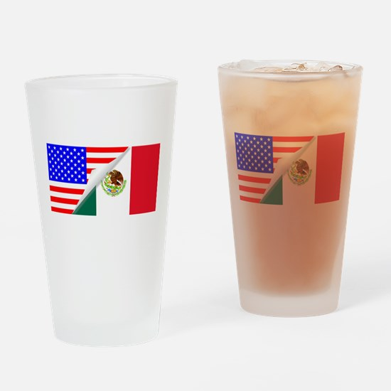United States and Mexico Flags Comb Drinking Glass
