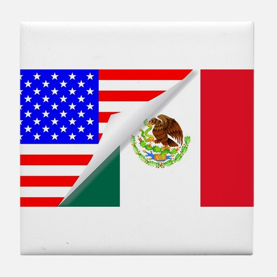 United States and Mexico Flags Combin Tile Coaster