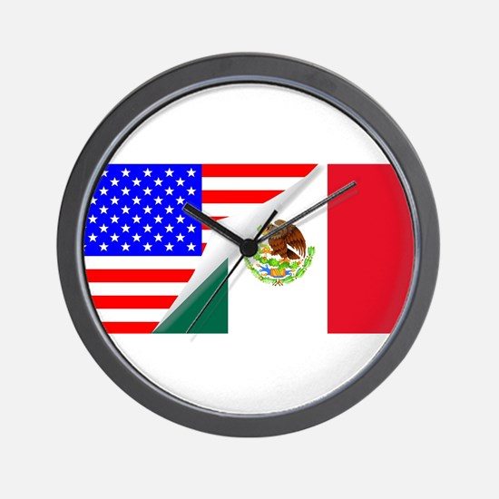 United States and Mexico Flags Combined Wall Clock
