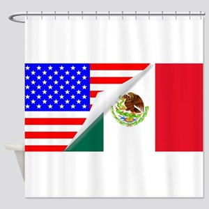 United States and Mexico Flags Comb Shower Curtain