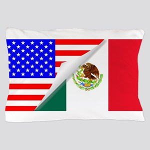 United States and Mexico Flags Combine Pillow Case