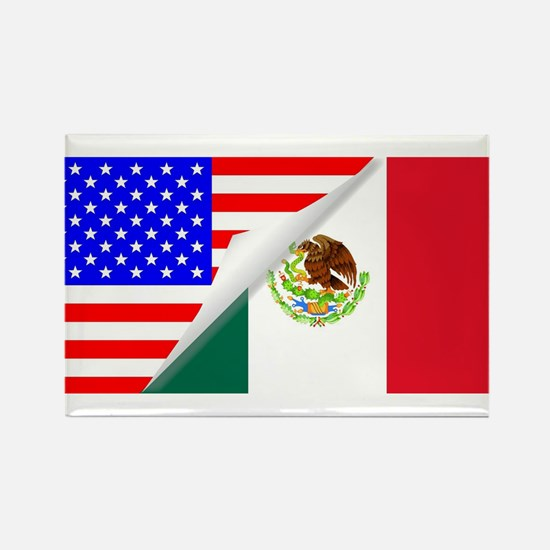 United States and Mexico Flags Combined Magnets