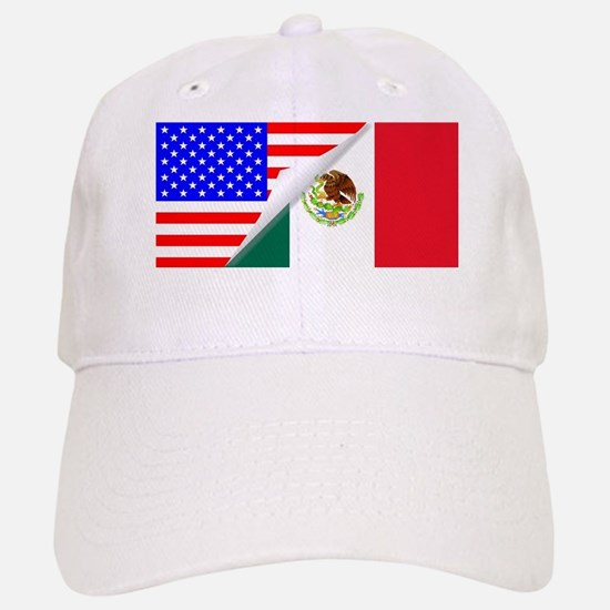 United States and Mexico Flags Combined Baseball Baseball Cap