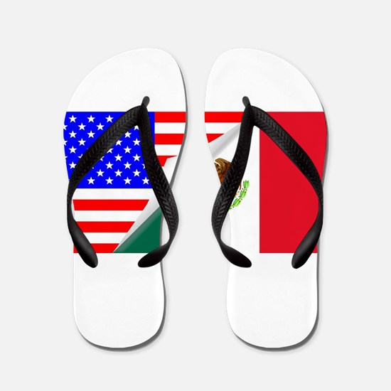 United States and Mexico Flags Combined Flip Flops