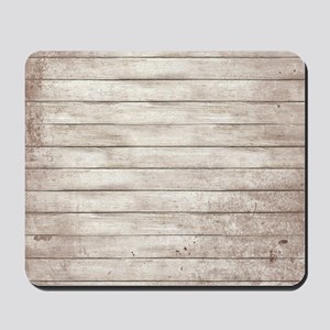 Rustic White Wood Mousepad