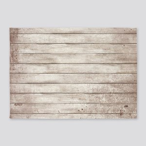 Rustic White Wood 5'x7'Area Rug