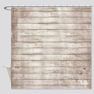 Rustic White Wood Shower Curtain