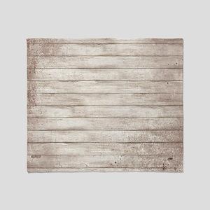 Rustic White Wood Throw Blanket
