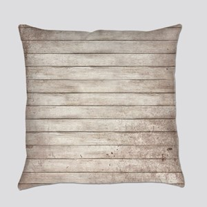 Rustic White Wood Everyday Pillow