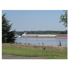 Barges on Mississippi Wall Art Poster