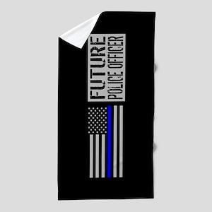 Police: Future Police Officer (Black F Beach Towel