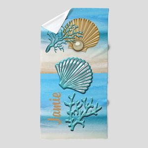 Aqua & Gold Seashells Beach Towel