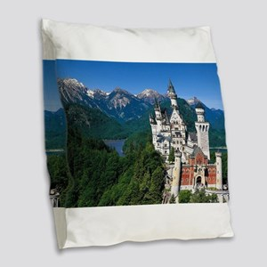 Neuschwanstein Castle Bavaria Burlap Throw Pillow