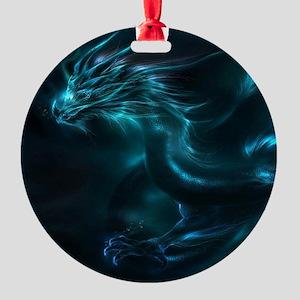 Blue Dragon Round Ornament