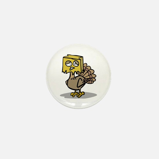 Hiding Paper Bag Head Turkey Mini Button