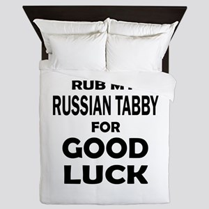 Rub my Russian Tabby for good luck Queen Duvet