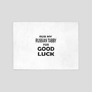 Rub my Russian Tabby for good luck 5'x7'Area Rug