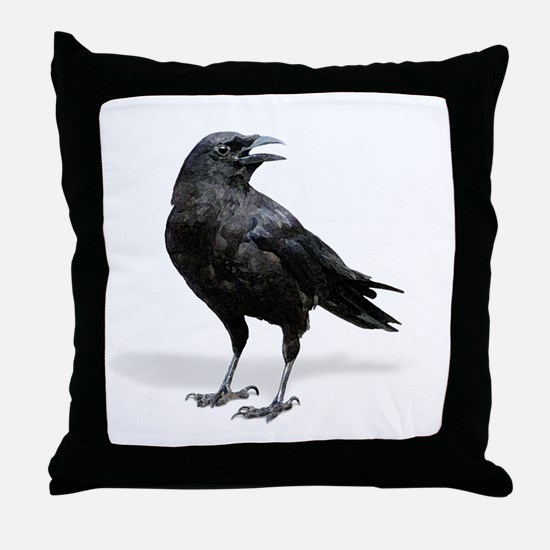 Black Crow Throw Pillow