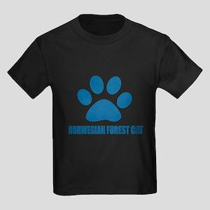 Norwegian Forest Cat Cat Designs Kids Dark T-Shirt
