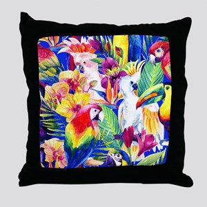 Tropical Birds Throw Pillow