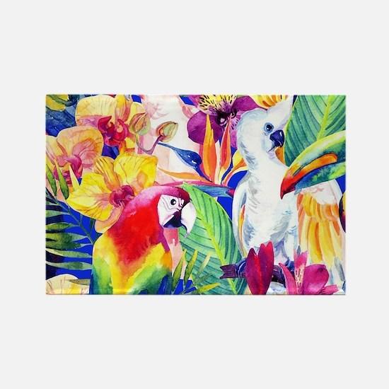 Tropical Birds Rectangle Magnet