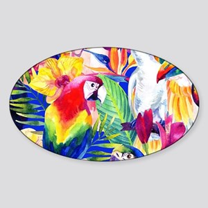 Tropical Birds Sticker (Oval)