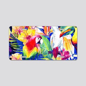 Tropical Birds Aluminum License Plate