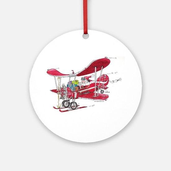 Santa Biplane Ornament (Round)