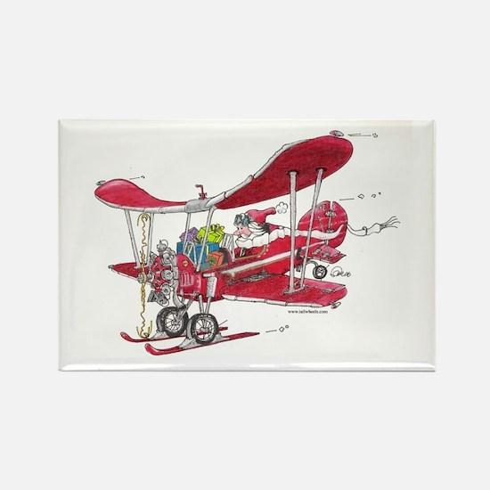 Santa Biplane Rectangle Magnet