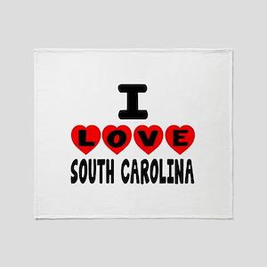 I Love South Carolina Throw Blanket