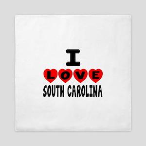 I Love South Carolina Queen Duvet