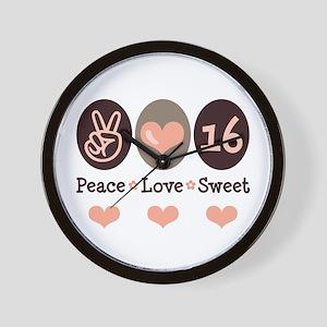Peace Love Sweet Sixteen 16th Birthday Wall Clock