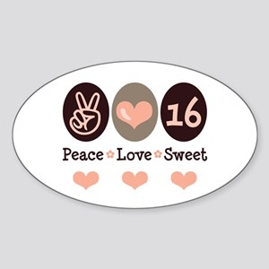 Peace Love Sweet Sixteen 16th Birthday Sticker (Ov